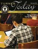 Turner Today cover photo of a student on his iPad