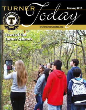 Turner Today cover photo of students on a nature trail