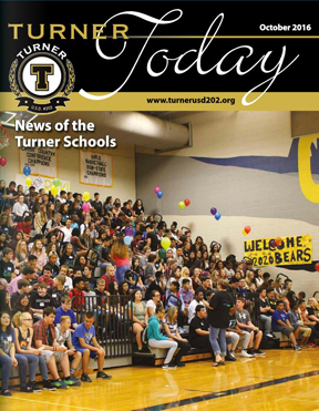 Turner Today cover of students sitting on the gym bleachers
