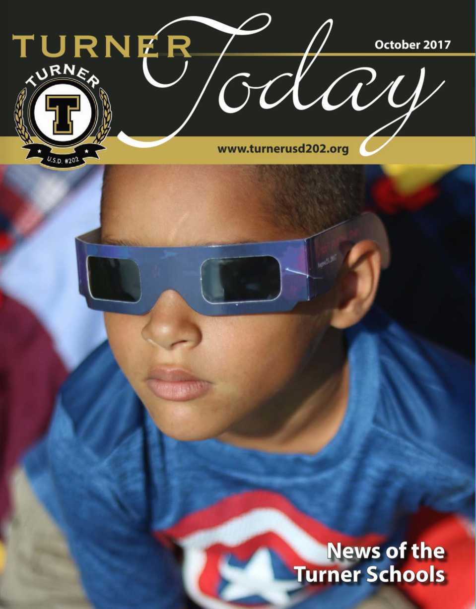 Turner Today cover of a student wearing solar eclipse classes
