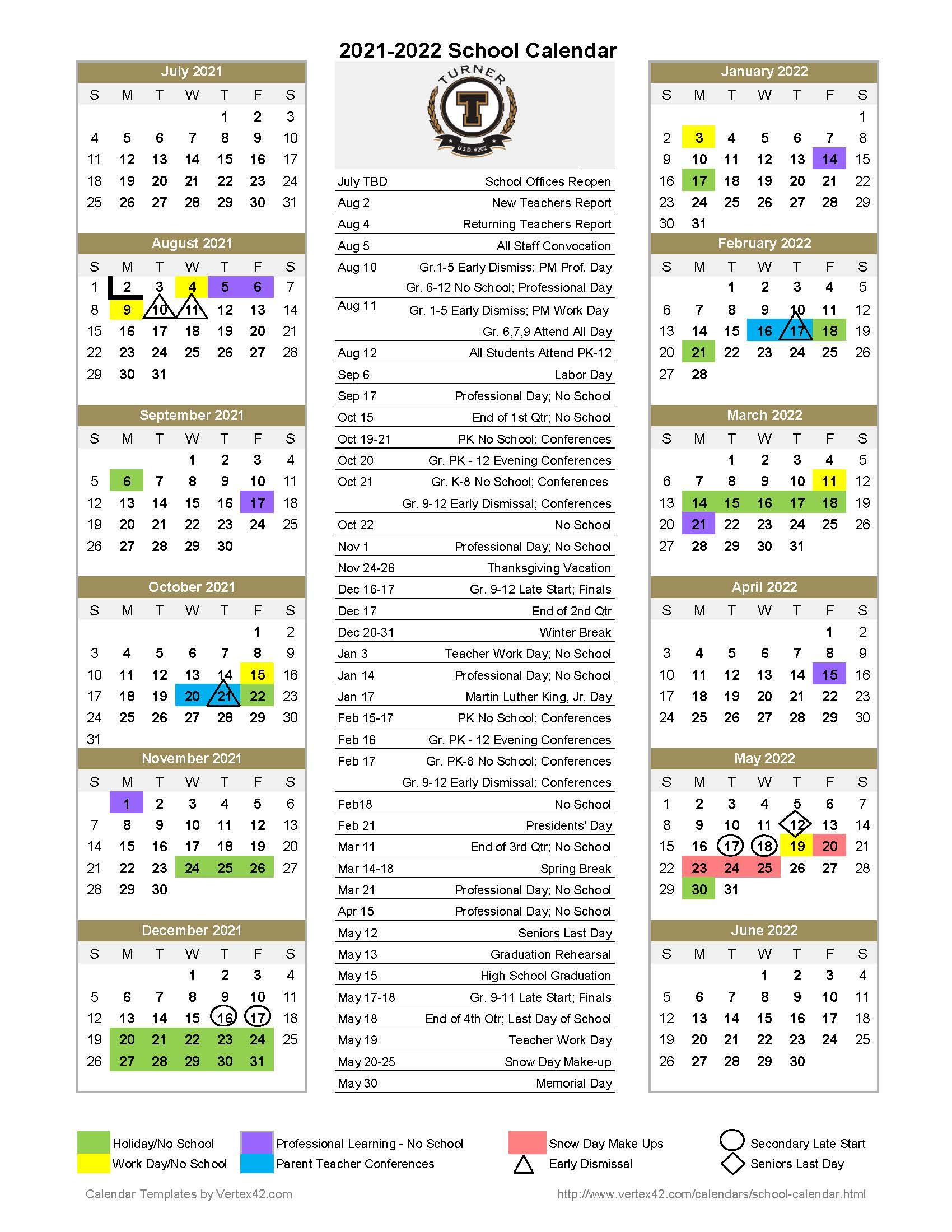 Tusd Calendar 2022.Turner Usd 202